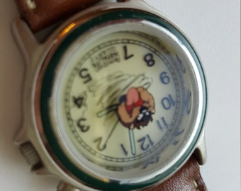 Ladies Watch Tas Tasmanian Devil Quartz Lighted Dial 1995 Warner Bros Armitron