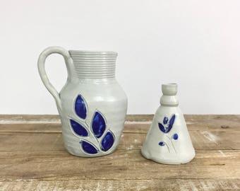 Williamsburg VA Pottery Stoneware Cobalt Blue Pitcher Bud Vase Inkwell Handthrown Creamer Vintage Collection Floral Crock Salt Glazed