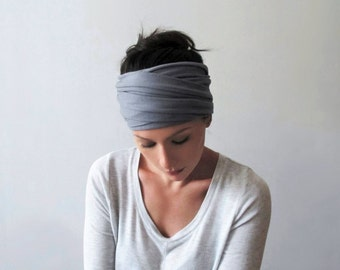 PEWTER Grey Hair Wrap - Light Gray Head Scarf - Bohemian Headband - Extra Wide Jersey Hair Wrap - Yoga Hair Accessories