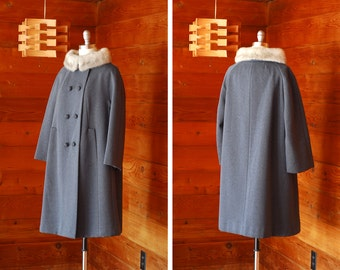 vintage 1950s coat / 50s grey Austrailian worsted wool and fur coat / size large x large