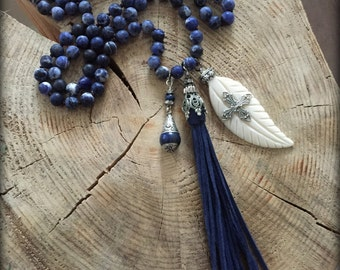 Long Blue tribal Necklace with Leather Tassel Long Tassel Necklace Blue Boho Necklace Tribal Boho Jewelry Festival Jewelry Agate Jewelry
