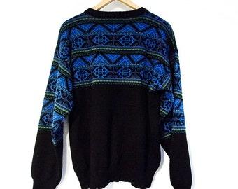 Scandinavian Sweater Sz. S/M Black & Blue Vintage Sweater 60s 70s 80s 90s | Men's Small | Women's Medium Mid-century Modern Jumper Retro Ski