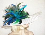Womens White Hat - Turquoise, Green Hat - Kentucky Derby Hat