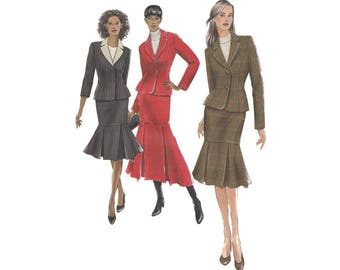 Easy to Sew Misses Jacket and Skirt with Pleated Lower Portion Uncut Vogue 8304 Bust 30.5-34 Fitted Tailored Jacket