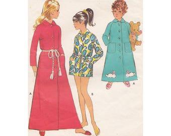 1960s Girls' Dressing Gown Housecoat Robe in Two Lengths Size 10 Breast 28.5 Style 2627 Tie Belt Raglan Sleeves Vintage Sewing Pattern