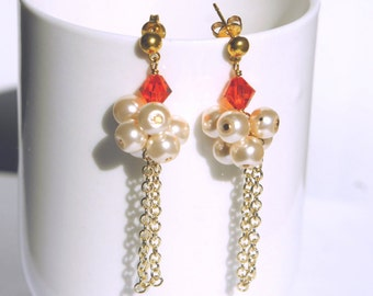 Pearl Cluster with Swarovski Crystal Dangle Earrings