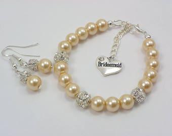 Bridesmaid Gift, Bridesmaid pearl Bracelet and earrings Set, Champagne bracelet pearl and rhinestone, bridesmaid heart charm Matron of honor