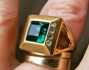 Vintage Square Green Stone 18K HGE Rhinestone Ring  Signed CCI Modern Design Gold Square Multi Stone Statement Ring Size 6 3/4