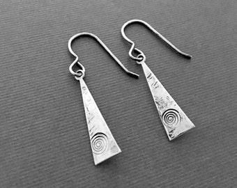 Sterling Silver Triangle Earrings, Geometric Jewelry, Artisan Earrings, Everyday Wear, Gifts for Her, Jewelry Sale