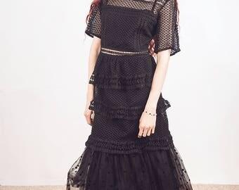 Black lace dress,party dress, polka dot dress, gown, midi dress, size medium, vintage inspired