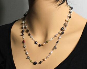 Multi Gemstone Necklace-Bracelet, Sterling Silver, versatile, aquamarine, labradorite, peridot, quartz, pearls, multi colore, gift, 3299