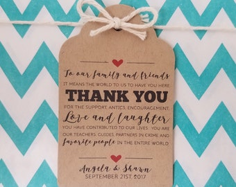 Wedding Gift Tags - Thank You For The Love and Laughter - Customizable Personalized (WT1706)