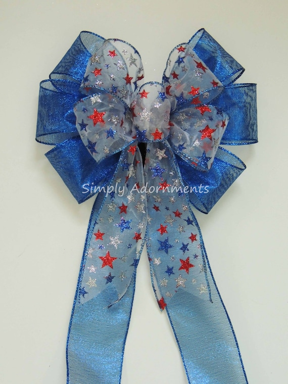 Red White and Blue Stars Bow Patriotic  Wreath bow Patriotic Wedding Aisle Decoration July 4th Wreath Bow Fourth of July Party Decor