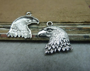 50 Eagle head charm pendant 18x21mm antique silver wholesale zinc alloy charms- w8357