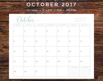 October 2017 Calendar | October 2017 | October | Calendar | Printable Calendar | Printable | Monthly Calendar | 2017 | Instant Download