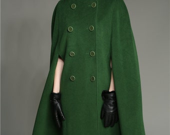 pure wool coat jacket in green, 100% cashmere coat, double breasted poncho jacket, high neck coat, military wool winter coat, long jacket