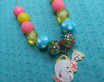 "Mrs. Potts and Chip 24"" Ball Chain Bubblegum Bead Chunky Necklace - Photo Prop- *Ready to ship*"