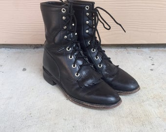 Vintage Black Leather Lace Up Roper Combat Justin Boots // Women's size 6