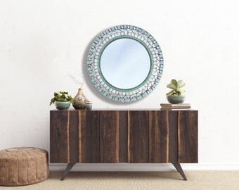 Round Wall Mirror, Mosaic Mirror, Mirror for Beach House, Aqua and Silver