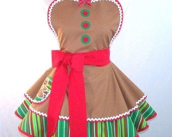 Christmas Apron Gingerbread Men Gingerbread Girl