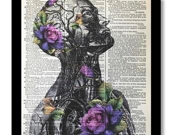 Anatomy Art Prints, Human Body Print, Anatomical Art, Anatomy Print, Floral Body Print, Flower Anatomy Print,Dictioanry Print, Purple Flower