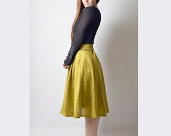 Yellow Midi Skirt in Silk, Silk Midi Skirt with Pockets, Ready to ship