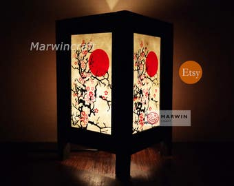 New Asian Oriental CHERRY BLOSSOM TREE Zen Art Bedside Floor Table Lamp Desk Paper Light Shades Gift Living Bedroom Furniture Home Decor