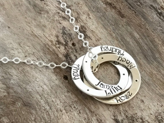 Mother's Necklace - Three Names - Three Rings -  Personalized - Hand Stamped - Sterling Silver - Name Necklace - Mom Necklace with Names