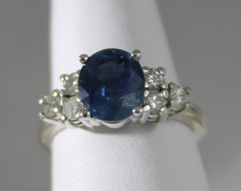 Blue Sapphire14K White Gold Diamond and Ring