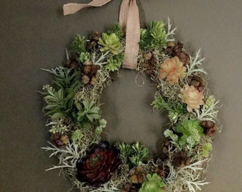 Faux Succulent Wreath, Succulent Wreath ,All Season Wreath, Front Door Decor, Farmhouse Decor