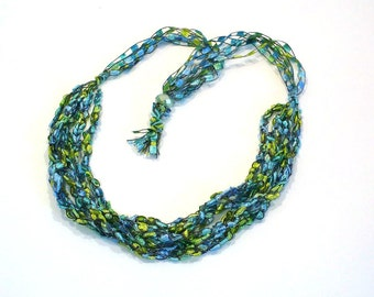 Aqua and Lime Ladder Yarn Necklace, Handmade Fiber Necklace, Crochet Choker, Vegan Jewelry, Ready to Ship