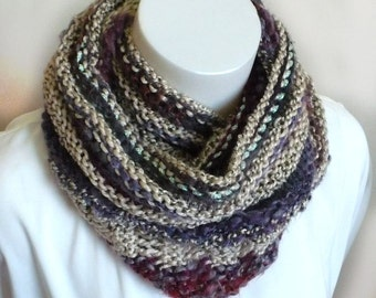 Hand Knit Art Yarn Scarf - Striped Boho Scarf, Fall Fashion Accessories, Triangle Scarf, Handmade in the USA, Ready to Ship