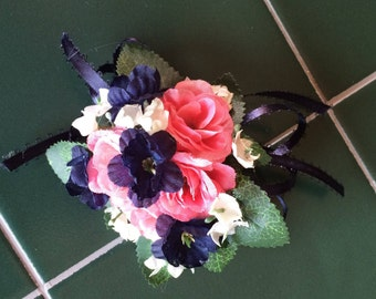 made to your color specifications rose with accent color PIN ON corsage white pink navy coral red lavender purple ivory orange turquoise