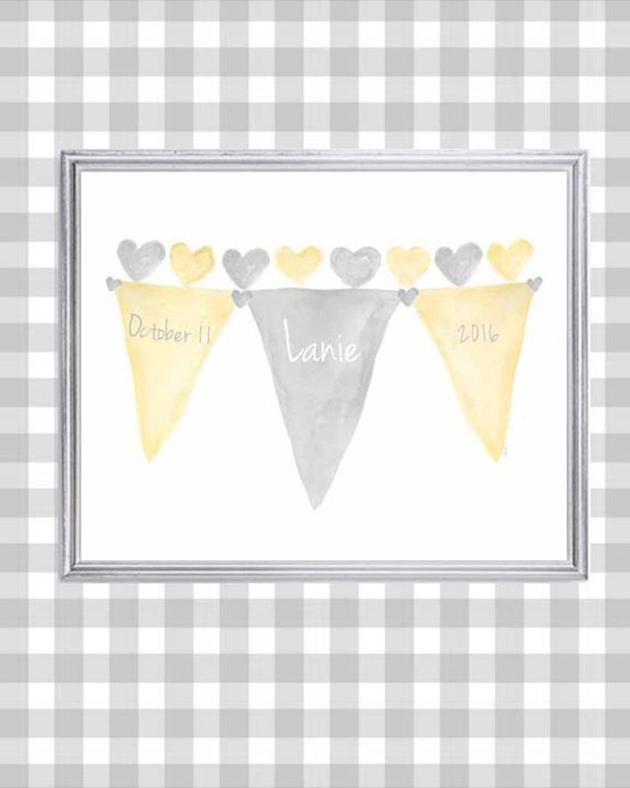 Yellow and Gray Birth Stats Print with Personalized Name and Birthday, 8x10