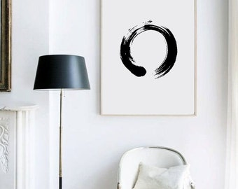 Enso Print - black and white enso japanese art print by gorgeous graphic design.