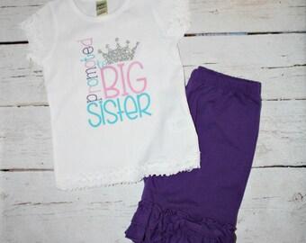 Promoted To Big Sister, Big Sister Shirt, Pregnancy Reveal, Big Sister Gift, promoted to big, baby announcement, new baby, Big Sister