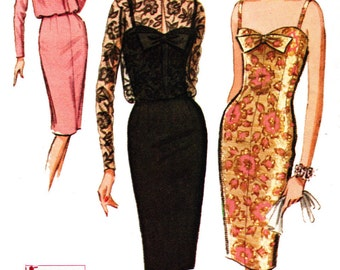 Evening Dress Sewing Pattern McCall's 7511 Misses' Vintage 1960s Camisole Cocktail Sheath Dress and Jacket Sewing Pattern