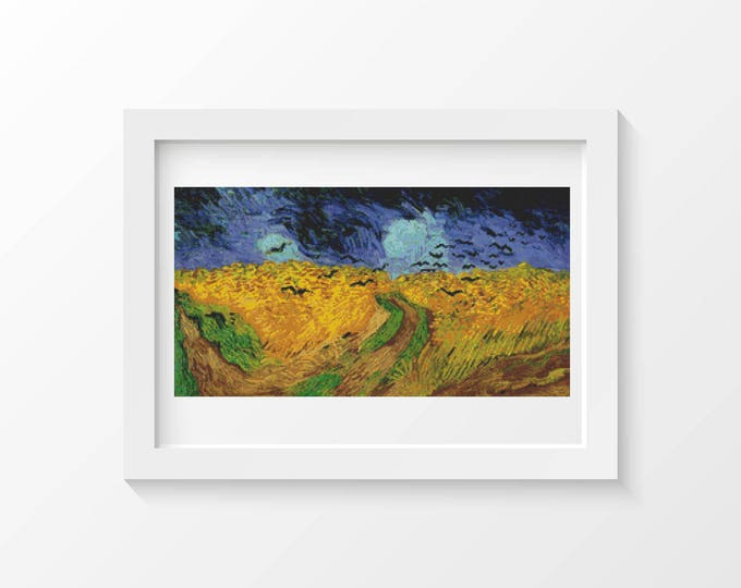Cross Stitch Pattern PDF, Embroidery Chart, Scenery Cross Stitch, Wheatfield with Crows by Vincent van Gogh (VGOGH20)