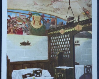 Woolworth Building Murals, Meyer's #Restaurant, New York City, Vintage Postcard, circa 1910