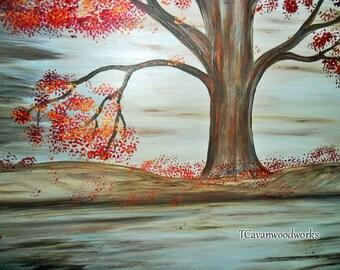tree painting, Autumn landscape, round art, painting on wood, metallic acrylics, original art, tree decor, tree wall art, landscape painting