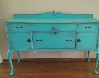 Antique French Provincial Buffet, Sideboard, Console, Hand Painted Turquoise / Aquamarine French Country Furniture
