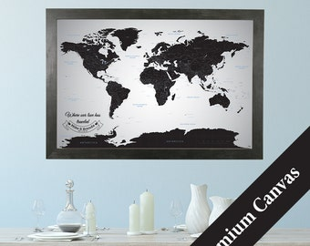 CANVAS Personalized Black Ice World Travel Map  - Push Pin Travel Map - Canvas World Map - Anniversary Gift - Pin your Travels - Canvas Map