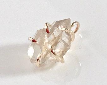 14k Herkimer diamond pendant, 14k diamond pendant, 14k herkimer diamond quartz pendant, 14k herkimer diamond necklace, 14k diamond necklace