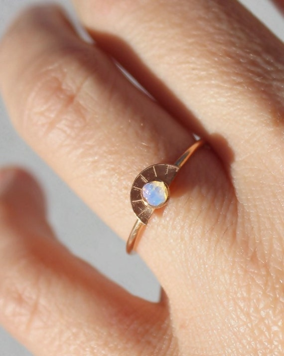 Raw Opal Ring Rose Gold Promise Ring Girlfriend Gift Opal
