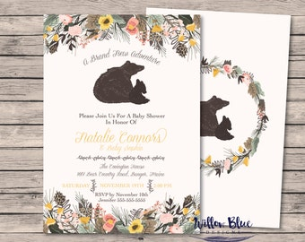 Baby Bear Shower Invitation, #706, Bear Baby Shower Theme, 5x7