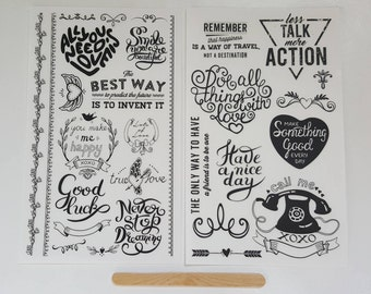 Set of 2 Rub-On Transfers Sheets – Rub On Sticker Sheets – Quotes Words Banners