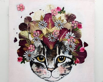 """Archival Print, """"Flower Crown Meow"""""""
