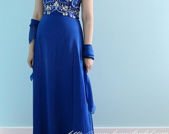Ready to Ship - Beautiful Long Retro Blue Floor Length  Beaded Prom Mother of the Bride High Quality Evening Dress