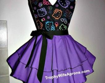 Apron # 4139 - Black & purple Hello Kitty flirty funky retro hostess apron