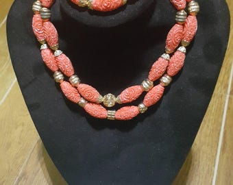 Multi Strand African Coral Peach Traditional Wedding Bridal Jewellery set